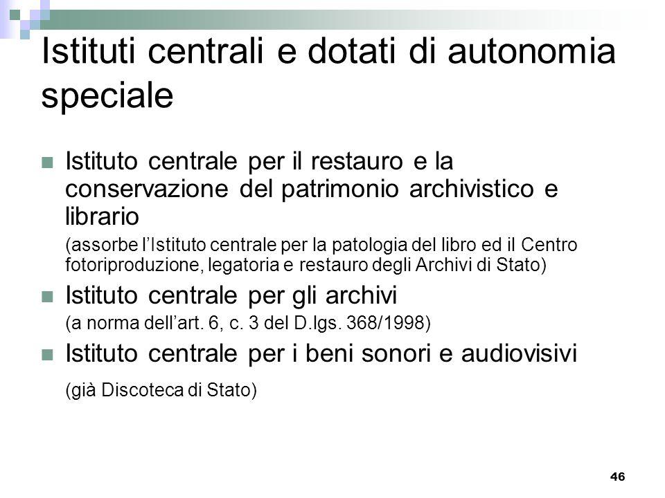 45 Istituti centrali e dotati di autonomia speciale Istituto centrale per il catalogo e la documentazione Istituto centrale per il catalogo unico dell
