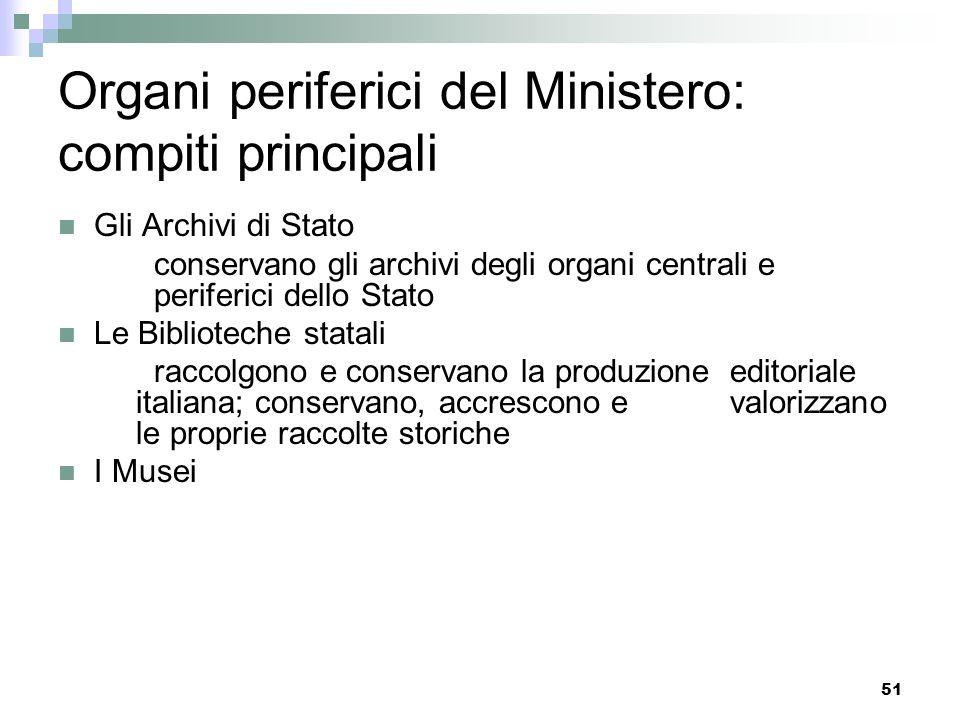 50 Organi periferici del Ministero: compiti principali Le Direzioni regionali per i beni culturali e paesaggistici coordinano lattività delle struttur