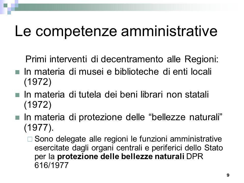 9 Primi interventi di decentramento alle Regioni: In materia di musei e biblioteche di enti locali (1972) In materia di tutela dei beni librari non statali (1972) In materia di protezione delle bellezze naturali (1977).