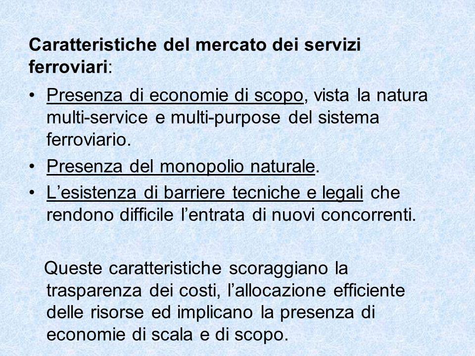 Caratteristiche del mercato dei servizi ferroviari: Presenza di economie di scopo, vista la natura multi-service e multi-purpose del sistema ferroviario.