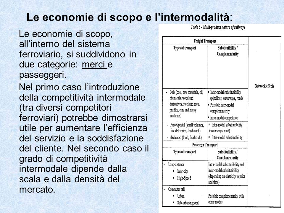 Le economie di scopo e lintermodalità: Le economie di scopo, allinterno del sistema ferroviario, si suddividono in due categorie: merci e passeggeri.
