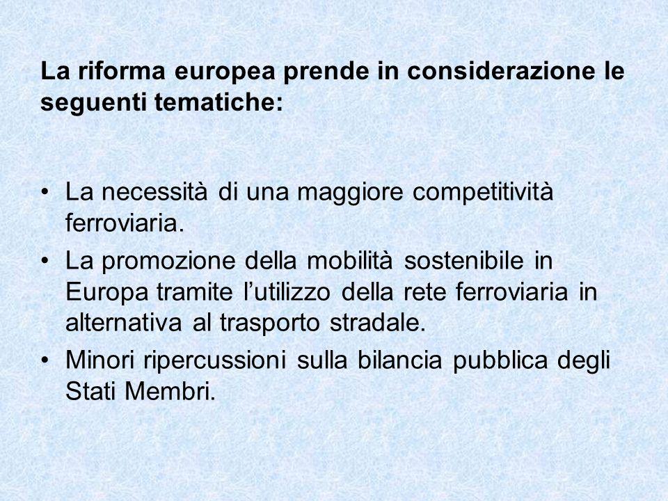 La riforma europea prende in considerazione le seguenti tematiche: La necessità di una maggiore competitività ferroviaria.