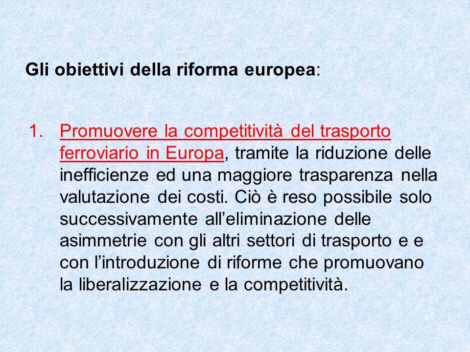 Gli obiettivi della riforma europea: 1.Promuovere la competitività del trasporto ferroviario in Europa, tramite la riduzione delle inefficienze ed una maggiore trasparenza nella valutazione dei costi.