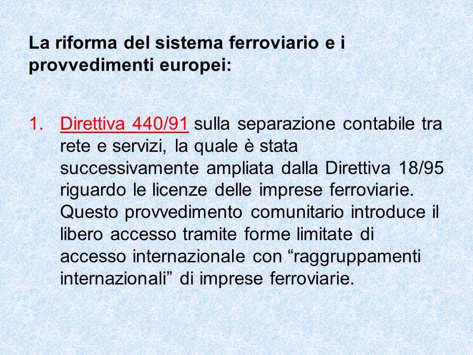 La riforma del sistema ferroviario e i provvedimenti europei: 1.Direttiva 440/91 sulla separazione contabile tra rete e servizi, la quale è stata successivamente ampliata dalla Direttiva 18/95 riguardo le licenze delle imprese ferroviarie.
