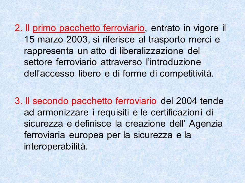 2. Il primo pacchetto ferroviario, entrato in vigore il 15 marzo 2003, si riferisce al trasporto merci e rappresenta un atto di liberalizzazione del s