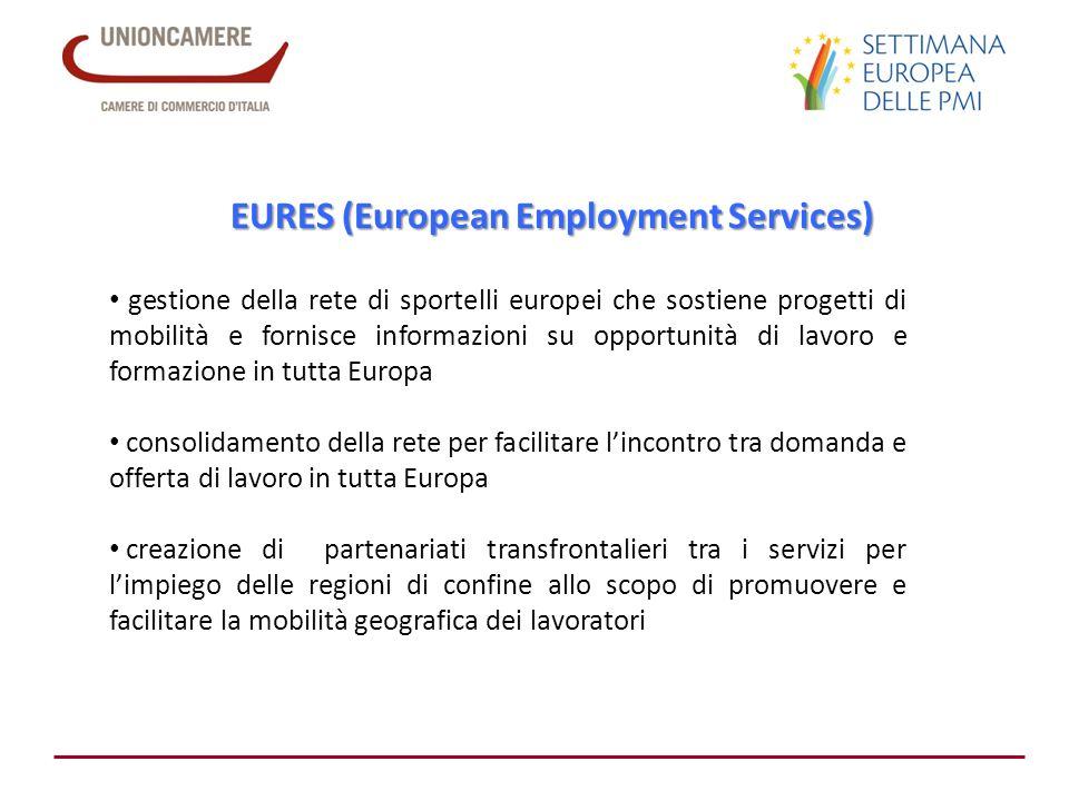 EURES (European Employment Services) gestione della rete di sportelli europei che sostiene progetti di mobilità e fornisce informazioni su opportunità