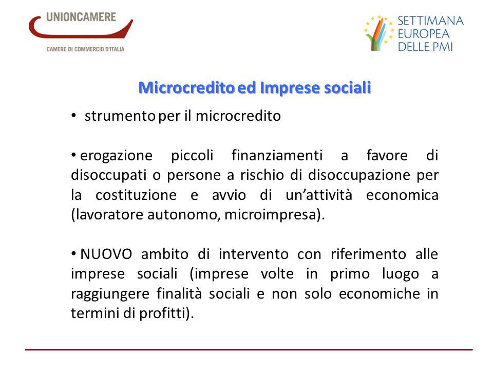 Microcredito ed Imprese sociali strumento per il microcredito erogazione piccoli finanziamenti a favore di disoccupati o persone a rischio di disoccup