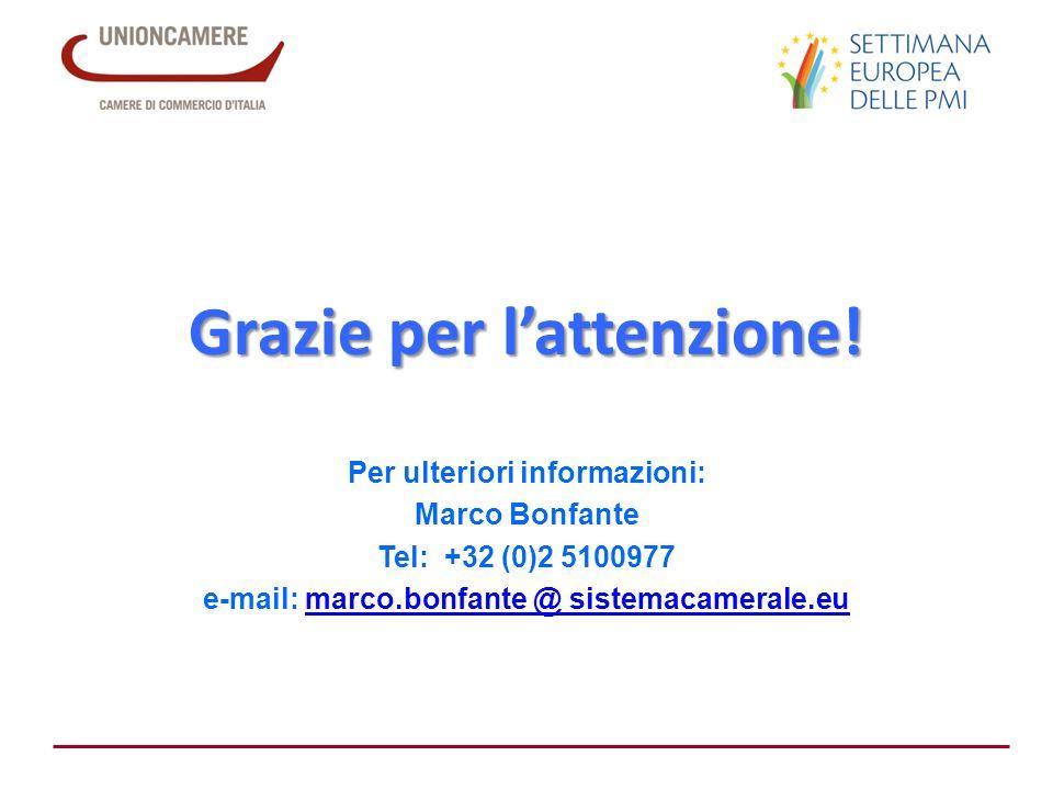 Per ulteriori informazioni: Marco Bonfante Tel: +32 (0)2 5100977 e-mail: marco.bonfante @ sistemacamerale.eumarco.bonfante @ sistemacamerale.eu Grazie