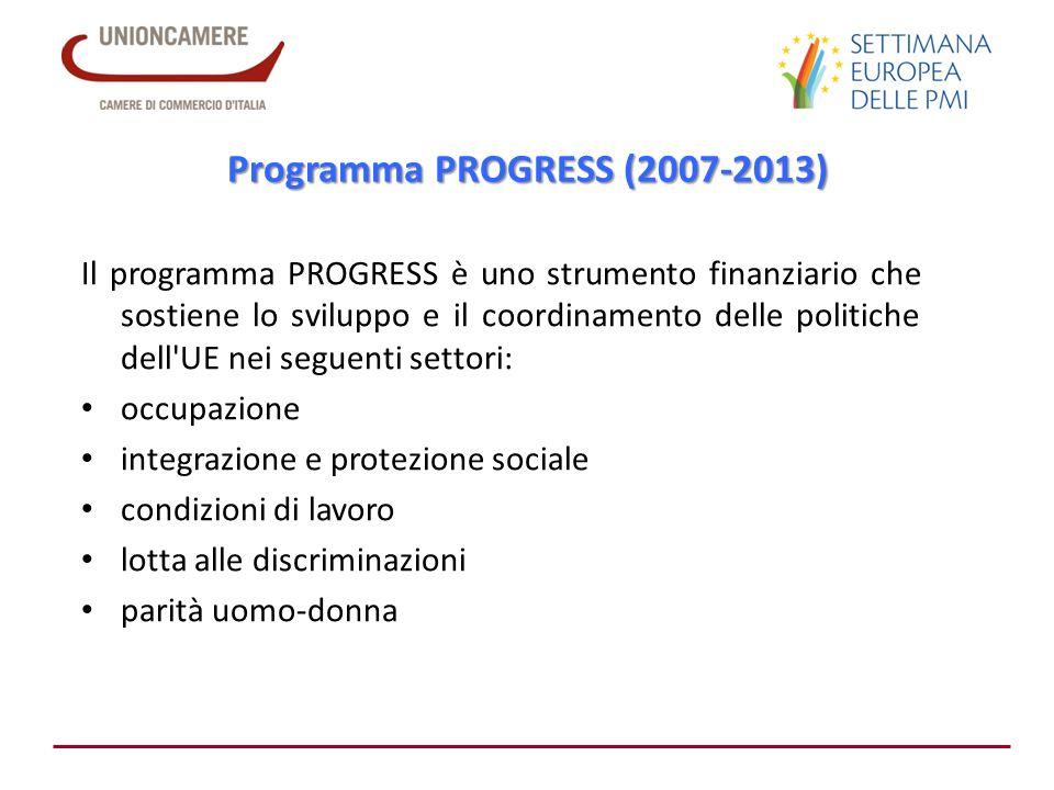 Programma PROGRESS (2007-2013) Il programma PROGRESS è uno strumento finanziario che sostiene lo sviluppo e il coordinamento delle politiche dell'UE n