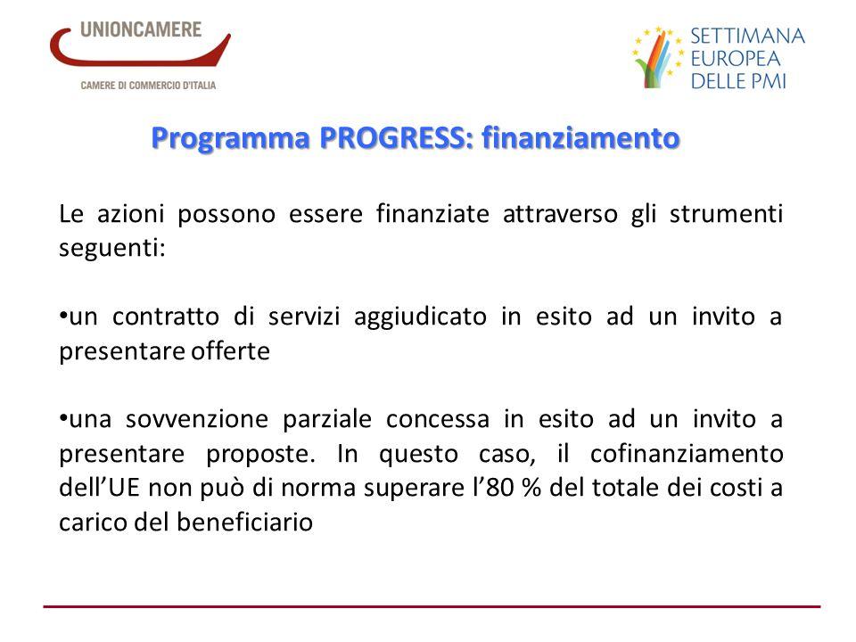 Programma PROGRESS: finanziamento Le azioni possono essere finanziate attraverso gli strumenti seguenti: un contratto di servizi aggiudicato in esito