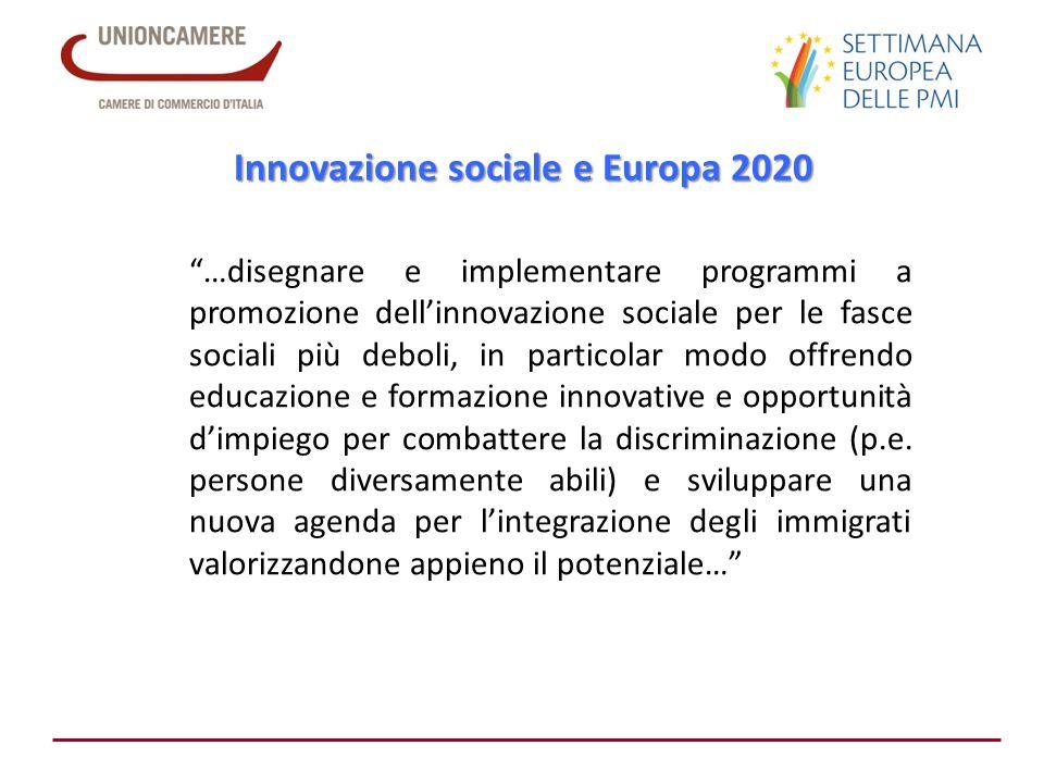Innovazione sociale e Europa 2020 …disegnare e implementare programmi a promozione dellinnovazione sociale per le fasce sociali più deboli, in partico