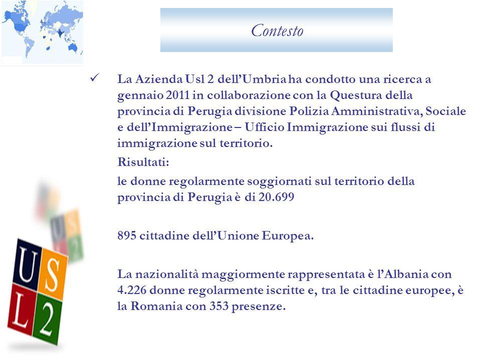 Contesto La Azienda Usl 2 dellUmbria ha condotto una ricerca a gennaio 2011 in collaborazione con la Questura della provincia di Perugia divisione Pol
