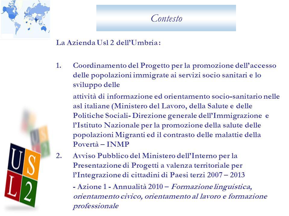 Contesto La Azienda Usl 2 dellUmbria : 1.Coordinamento del Progetto per la promozione dellaccesso delle popolazioni immigrate ai servizi socio sanitar