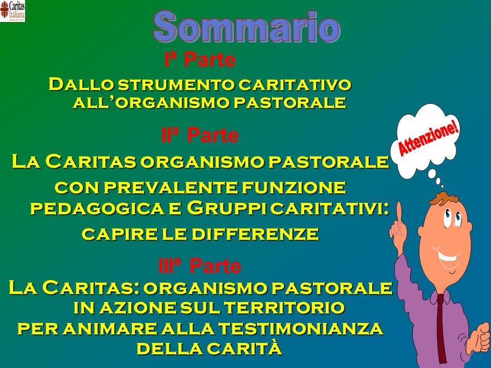 Iª Parte Dallo strumento caritativo allorganismo pastorale IIª Parte La Caritas organismo pastorale con prevalente funzione pedagogica e Gruppi carita