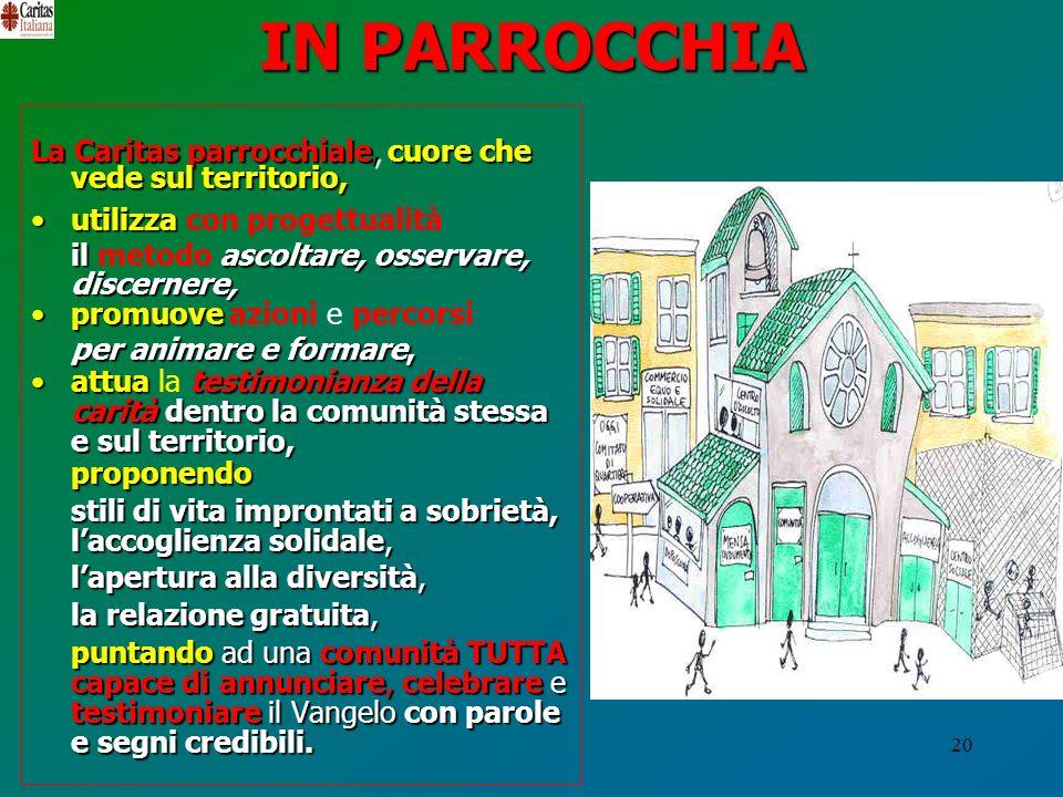 20 IN PARROCCHIA La Caritas parrocchiale,cuore che vede sul territorio, La Caritas parrocchiale, cuore che vede sul territorio, utilizzautilizza con p