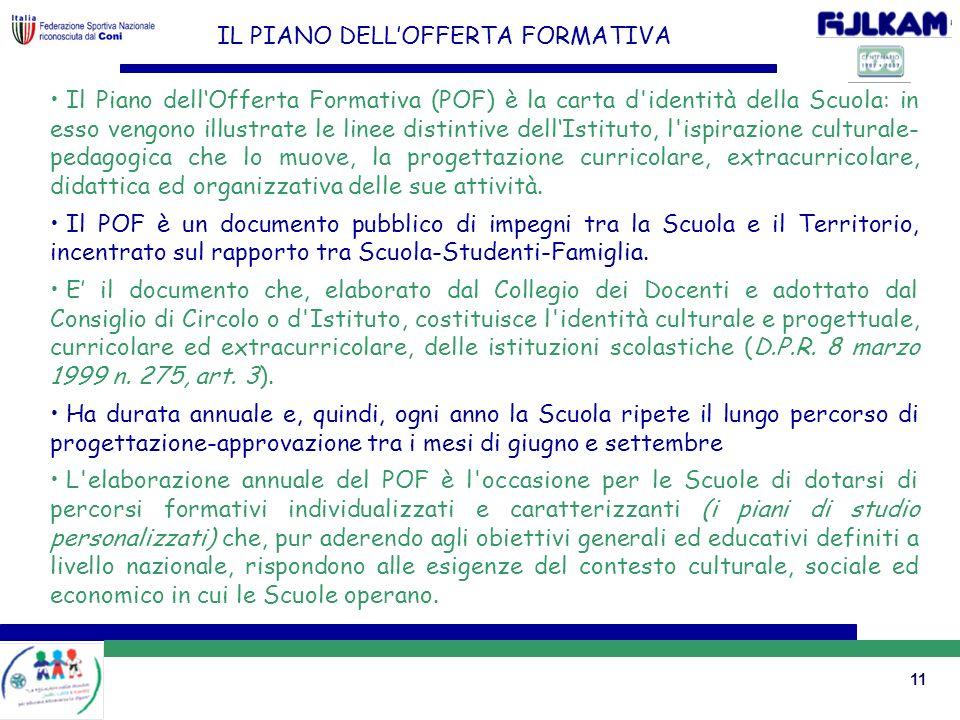 11 IL PIANO DELLOFFERTA FORMATIVA Il Piano dellOfferta Formativa (POF) è la carta d'identità della Scuola: in esso vengono illustrate le linee distint
