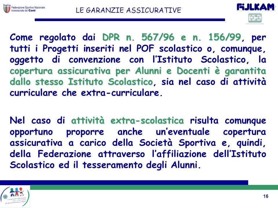 16 LE GARANZIE ASSICURATIVE DPR n. 567/96 e n. 156/99 copertura assicurativa per Alunni e Docenti è garantita dallo stesso Istituto Scolastico Come re