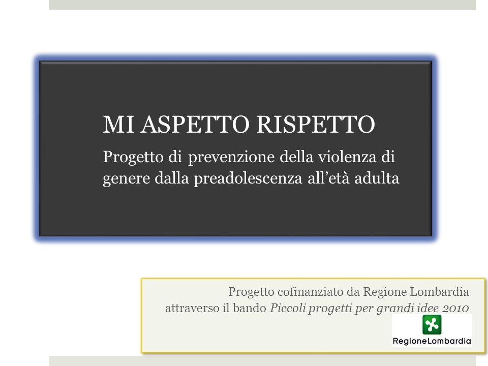 MI ASPETTO RISPETTO Progetto di prevenzione della violenza di genere dalla preadolescenza alletà adulta Progetto cofinanziato da Regione Lombardia att