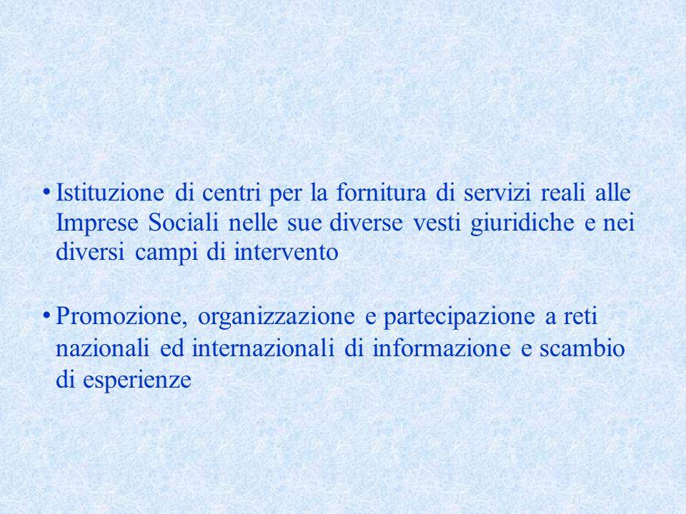 Istituzione di centri per la fornitura di servizi reali alle Imprese Sociali nelle sue diverse vesti giuridiche e nei diversi campi di intervento Promozione, organizzazione e partecipazione a reti nazionali ed internazionali di informazione e scambio di esperienze