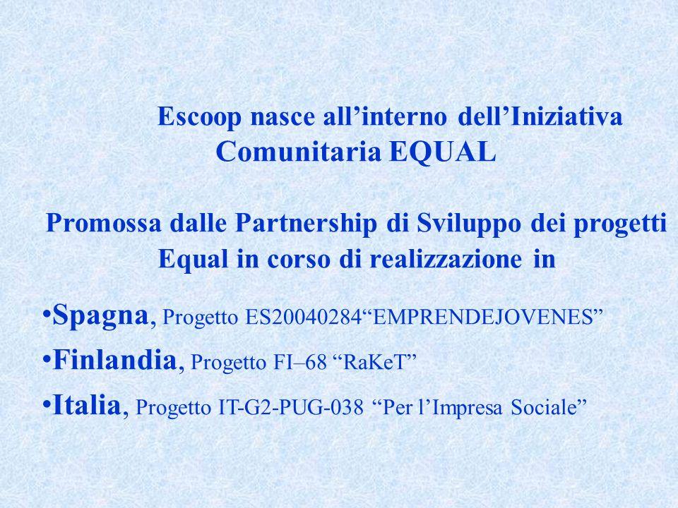 Escoop nasce allinterno dellIniziativa Comunitaria EQUAL Promossa dalle Partnership di Sviluppo dei progetti Equal in corso di realizzazione in Spagna, Progetto ES20040284EMPRENDEJOVENES Finlandia, Progetto FI–68 RaKeT Italia, Progetto IT-G2-PUG-038 Per lImpresa Sociale