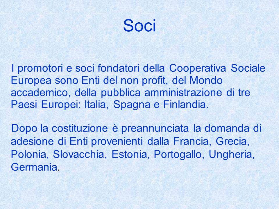 Soci I promotori e soci fondatori della Cooperativa Sociale Europea sono Enti del non profit, del Mondo accademico, della pubblica amministrazione di tre Paesi Europei: Italia, Spagna e Finlandia.