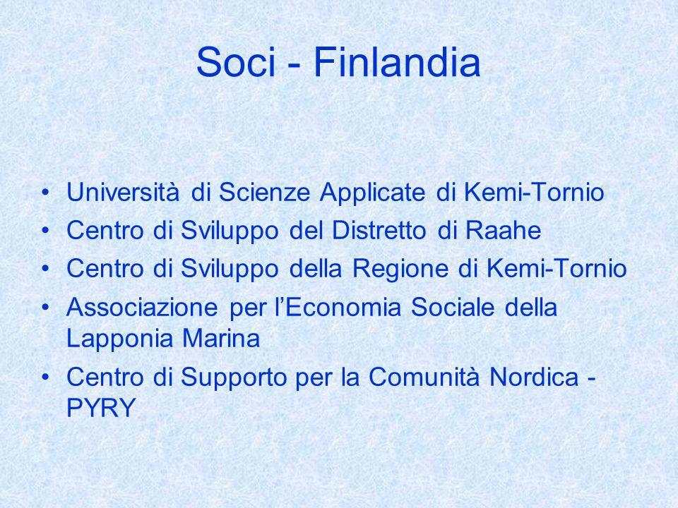 Soci - Finlandia Università di Scienze Applicate di Kemi-Tornio Centro di Sviluppo del Distretto di Raahe Centro di Sviluppo della Regione di Kemi-Tornio Associazione per lEconomia Sociale della Lapponia Marina Centro di Supporto per la Comunità Nordica - PYRY