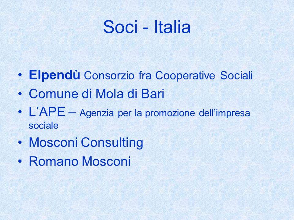 Soci - Italia Elpendù Consorzio fra Cooperative Sociali Comune di Mola di Bari LAPE – Agenzia per la promozione dellimpresa sociale Mosconi Consulting Romano Mosconi