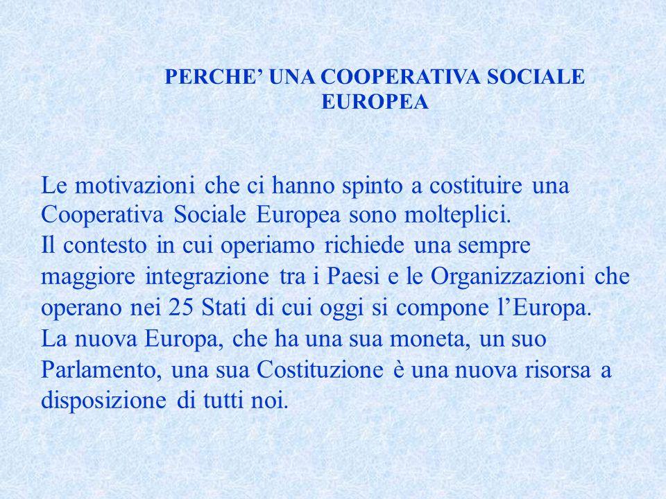 Le motivazioni che ci hanno spinto a costituire una Cooperativa Sociale Europea sono molteplici.