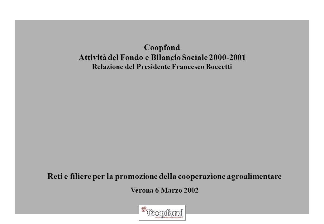 Coopfond Attività del Fondo e Bilancio Sociale 2000-2001 Relazione del Presidente Francesco Boccetti Reti e filiere per la promozione della cooperazione agroalimentare Verona 6 Marzo 2002