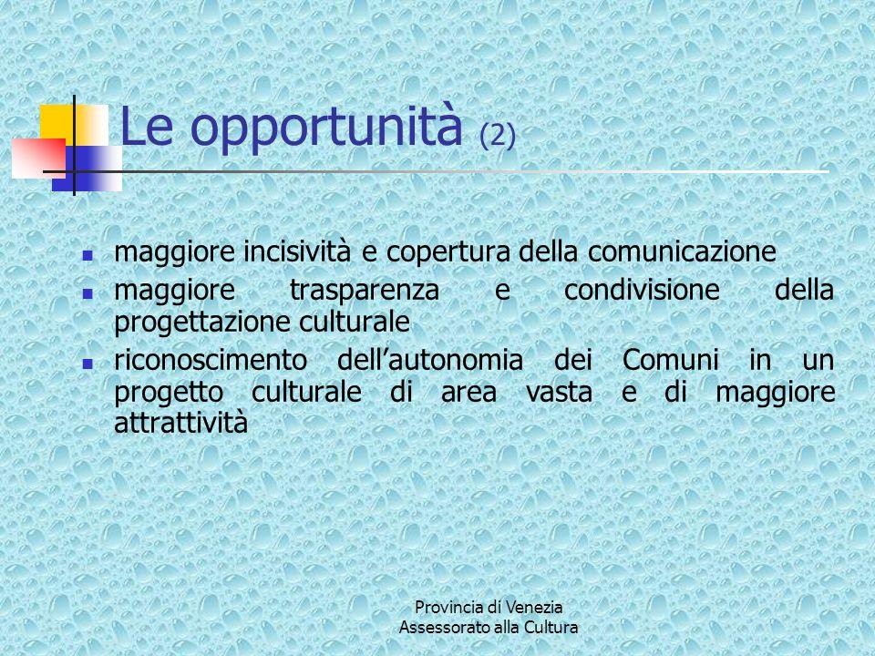 Provincia di Venezia Assessorato alla Cultura In tale area saranno inseriti tutti gli eventi e le manifestazioni in corso.