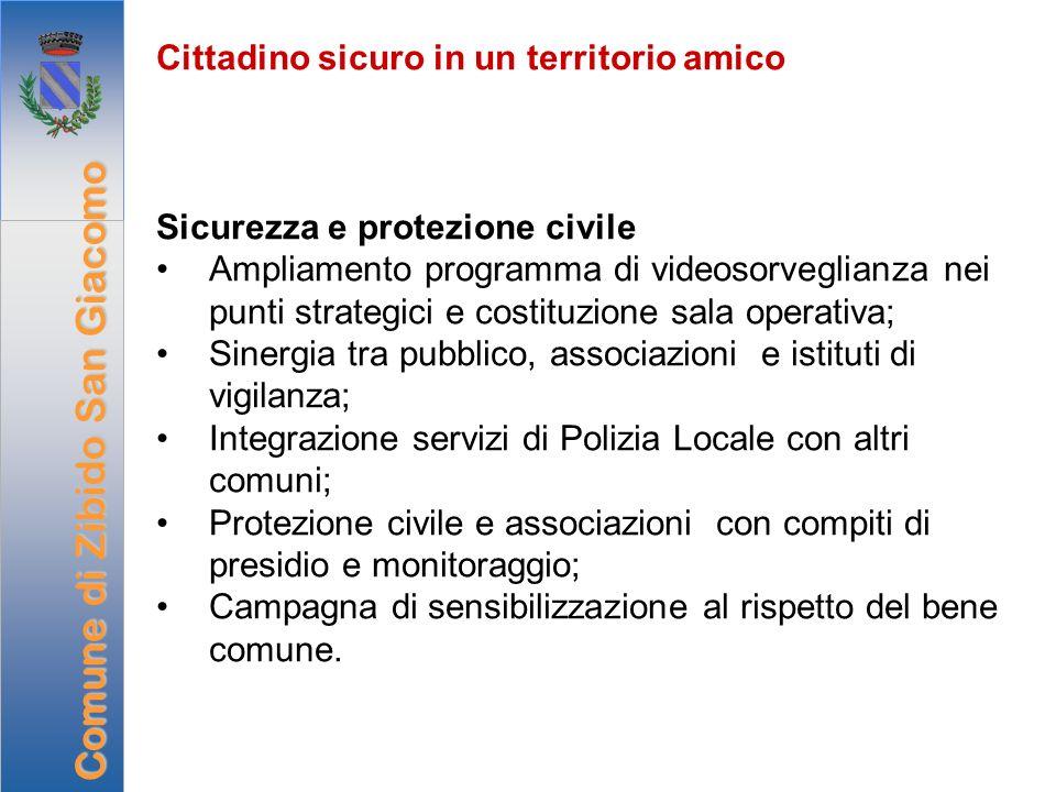 Cittadino sicuro in un territorio amico Sicurezza e protezione civile Ampliamento programma di videosorveglianza nei punti strategici e costituzione s