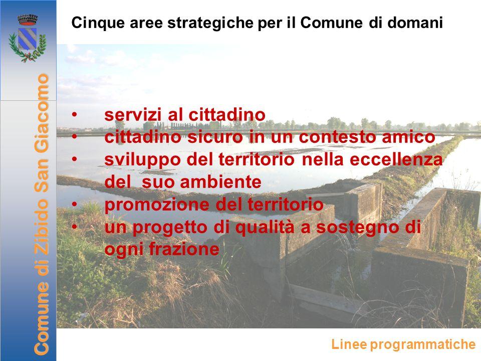 Cinque aree strategiche per il Comune di domani servizi al cittadino cittadino sicuro in un contesto amico sviluppo del territorio nella eccellenza de