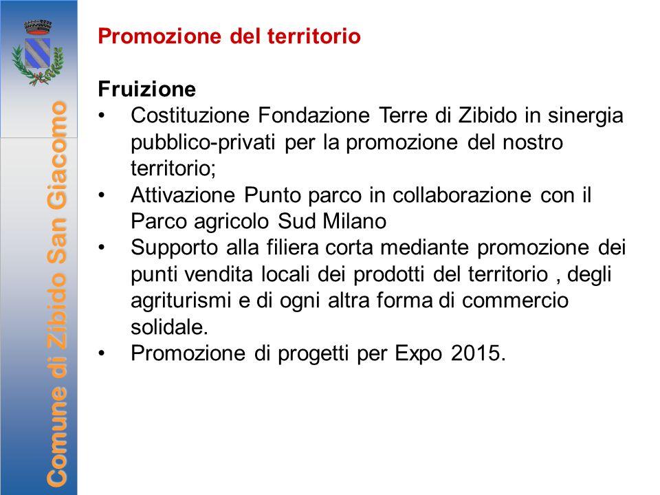 Promozione del territorio Fruizione Costituzione Fondazione Terre di Zibido in sinergia pubblico-privati per la promozione del nostro territorio; Atti