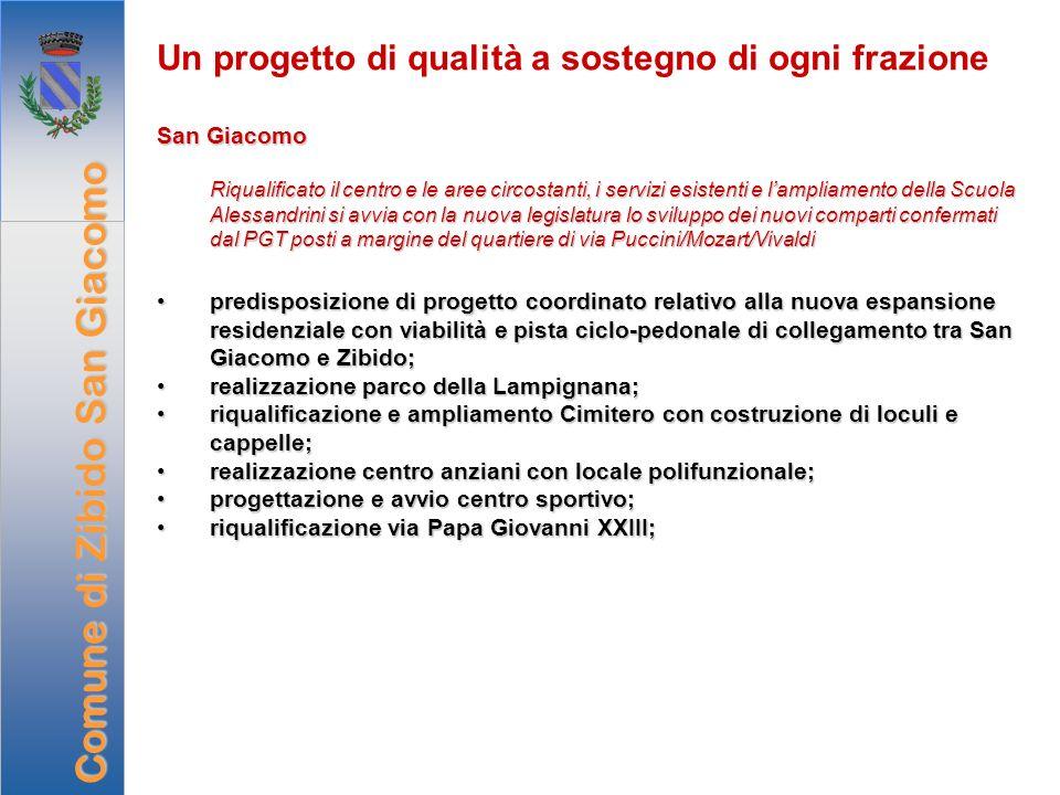 Un progetto di qualità a sostegno di ogni frazione San Giacomo Riqualificato il centro e le aree circostanti, i servizi esistenti e lampliamento della