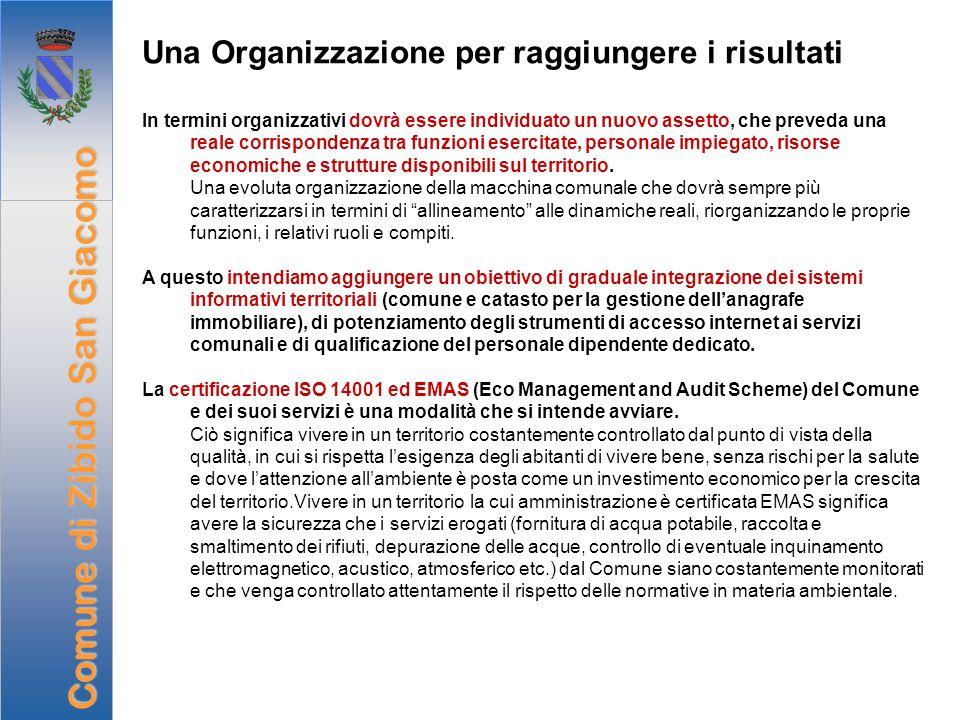 Una Organizzazione per raggiungere i risultati In termini organizzativi dovrà essere individuato un nuovo assetto, che preveda una reale corrispondenz