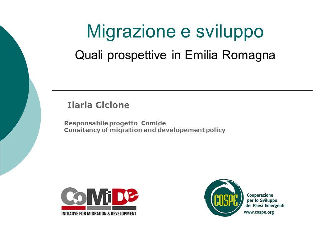 Migrazione e sviluppo Quali prospettive in Emilia Romagna Ilaria Cicione Responsabile progetto Comide Consitency of migration and developement policy