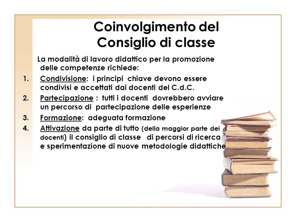 Coinvolgimento del Consiglio di classe La modalità di lavoro didattico per la promozione delle competenze richiede: 1.Condivisione: i principi chiave