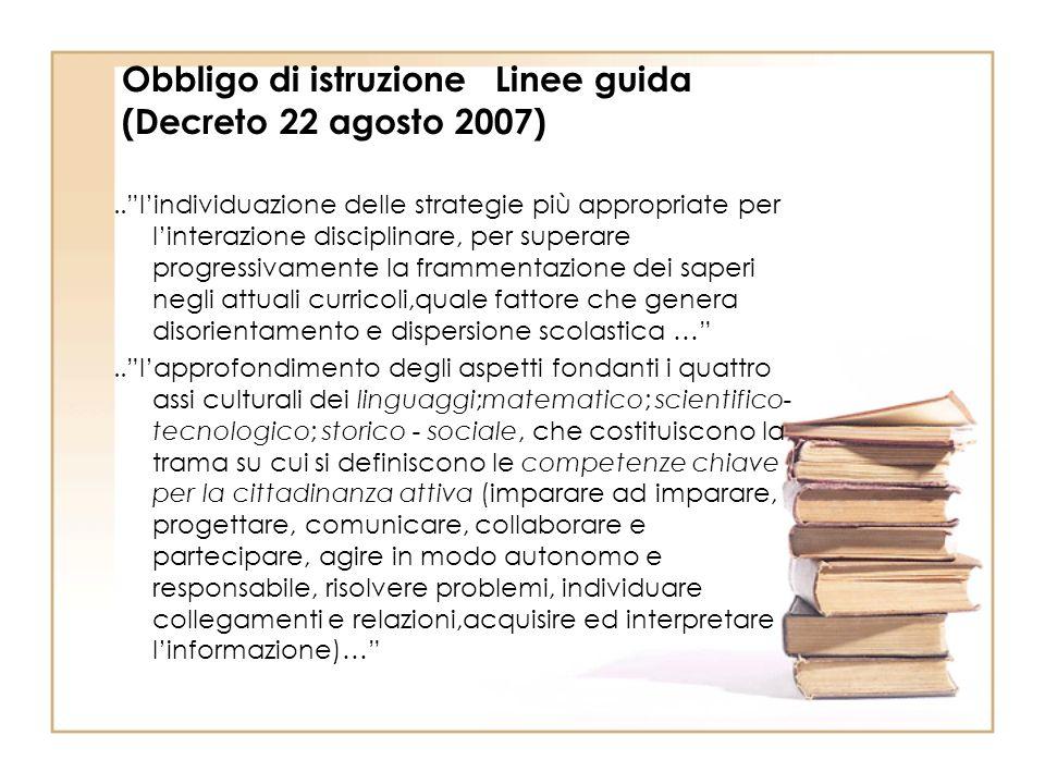 Obbligo di istruzione Linee guida (Decreto 22 agosto 2007)..lindividuazione delle strategie più appropriate per linterazione disciplinare, per superar