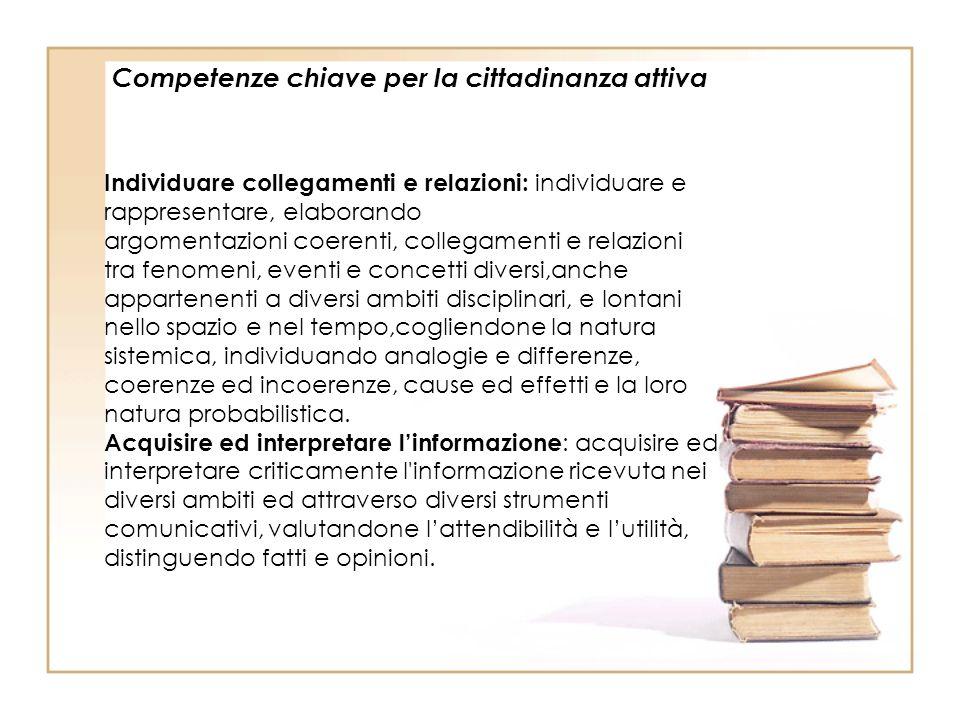 Competenze chiave per la cittadinanza attiva Individuare collegamenti e relazioni: individuare e rappresentare, elaborando argomentazioni coerenti, co