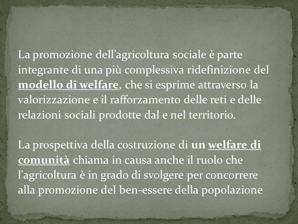 La promozione dellagricoltura sociale è parte integrante di una più complessiva ridefinizione del modello di welfare, che si esprime attraverso la valorizzazione e il rafforzamento delle reti e delle relazioni sociali prodotte dal e nel territorio.