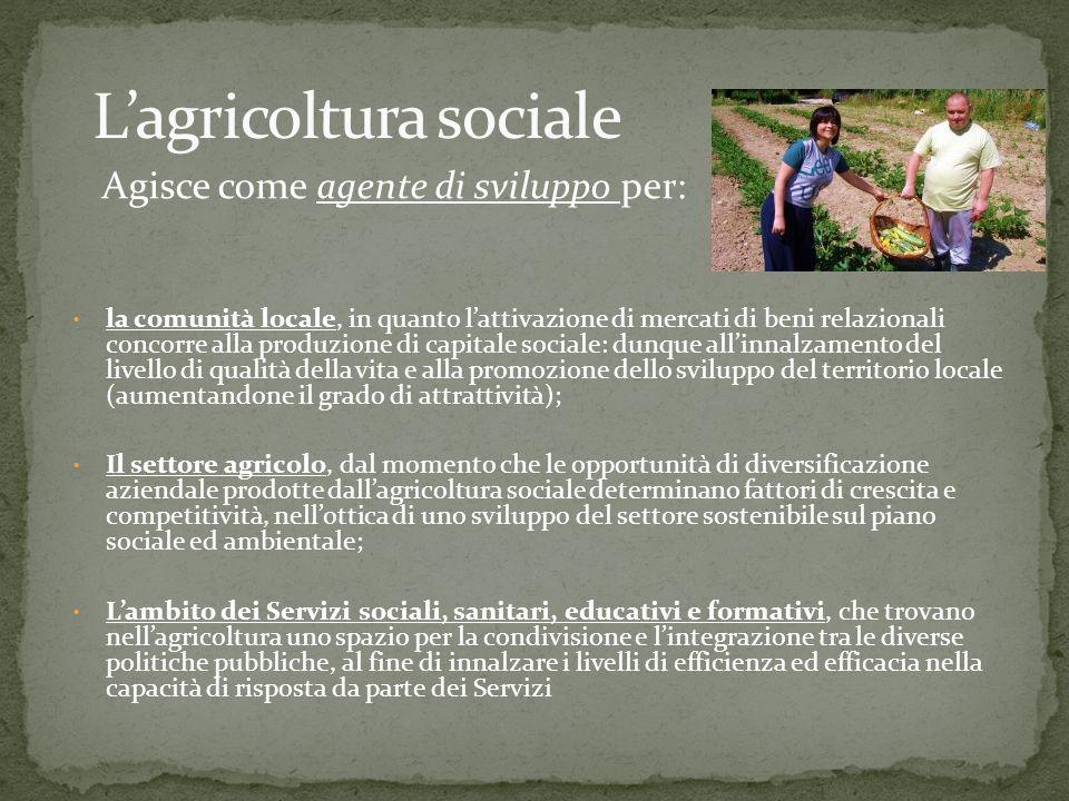 Agisce come agente di sviluppo per: la comunità locale, in quanto lattivazione di mercati di beni relazionali concorre alla produzione di capitale sociale: dunque allinnalzamento del livello di qualità della vita e alla promozione dello sviluppo del territorio locale (aumentandone il grado di attrattività); Il settore agricolo, dal momento che le opportunità di diversificazione aziendale prodotte dallagricoltura sociale determinano fattori di crescita e competitività, nellottica di uno sviluppo del settore sostenibile sul piano sociale ed ambientale; Lambito dei Servizi sociali, sanitari, educativi e formativi, che trovano nellagricoltura uno spazio per la condivisione e lintegrazione tra le diverse politiche pubbliche, al fine di innalzare i livelli di efficienza ed efficacia nella capacità di risposta da parte dei Servizi
