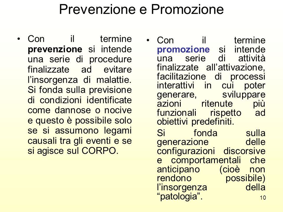 10 Prevenzione e Promozione Con il termine prevenzione si intende una serie di procedure finalizzate ad evitare linsorgenza di malattie. Si fonda sull