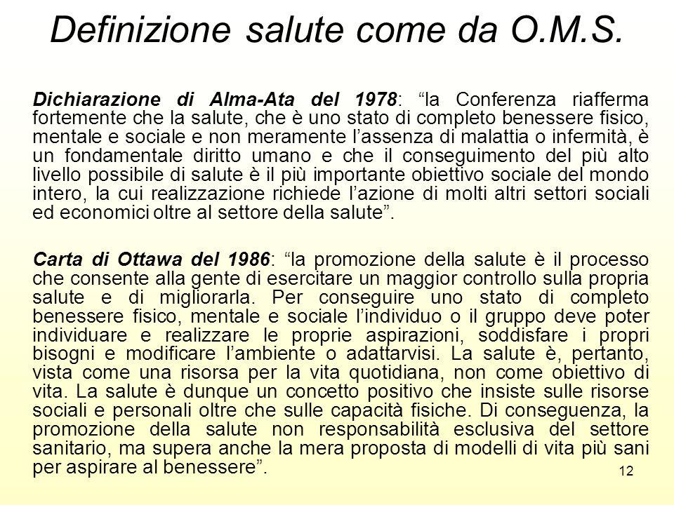 12 Definizione salute come da O.M.S. Dichiarazione di Alma-Ata del 1978: la Conferenza riafferma fortemente che la salute, che è uno stato di completo