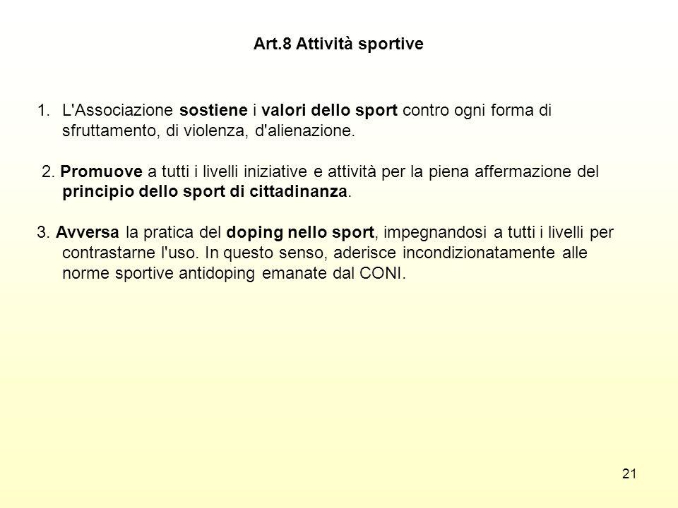21 1.L'Associazione sostiene i valori dello sport contro ogni forma di sfruttamento, di violenza, d'alienazione. 2. Promuove a tutti i livelli iniziat