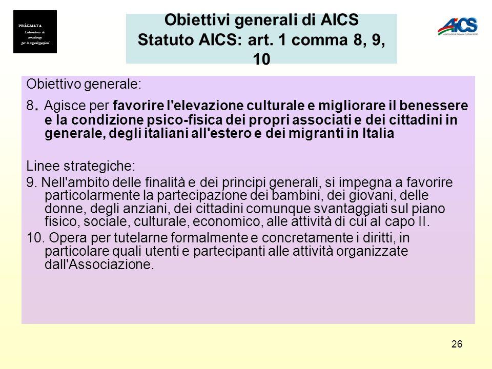 26 Obiettivi generali di AICS Statuto AICS: art. 1 comma 8, 9, 10 Obiettivo generale: 8. Agisce per favorire l'elevazione culturale e migliorare il be
