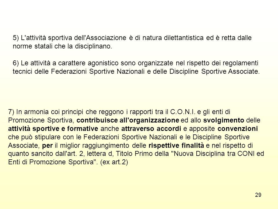 29 5) L'attività sportiva dell'Associazione è di natura dilettantistica ed è retta dalle norme statali che la disciplinano. 6) Le attività a carattere
