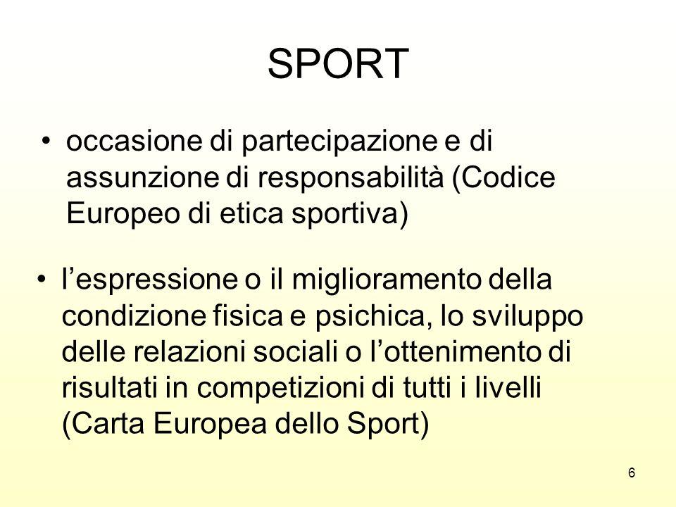 6 SPORT occasione di partecipazione e di assunzione di responsabilità (Codice Europeo di etica sportiva) lespressione o il miglioramento della condizi