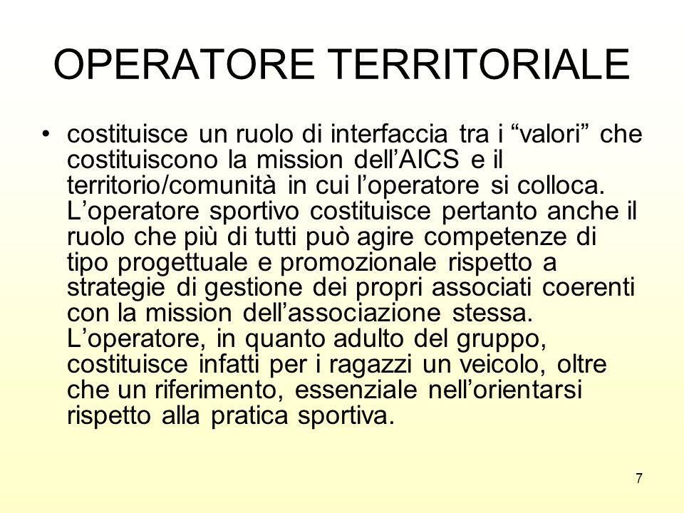 7 OPERATORE TERRITORIALE costituisce un ruolo di interfaccia tra i valori che costituiscono la mission dellAICS e il territorio/comunità in cui lopera