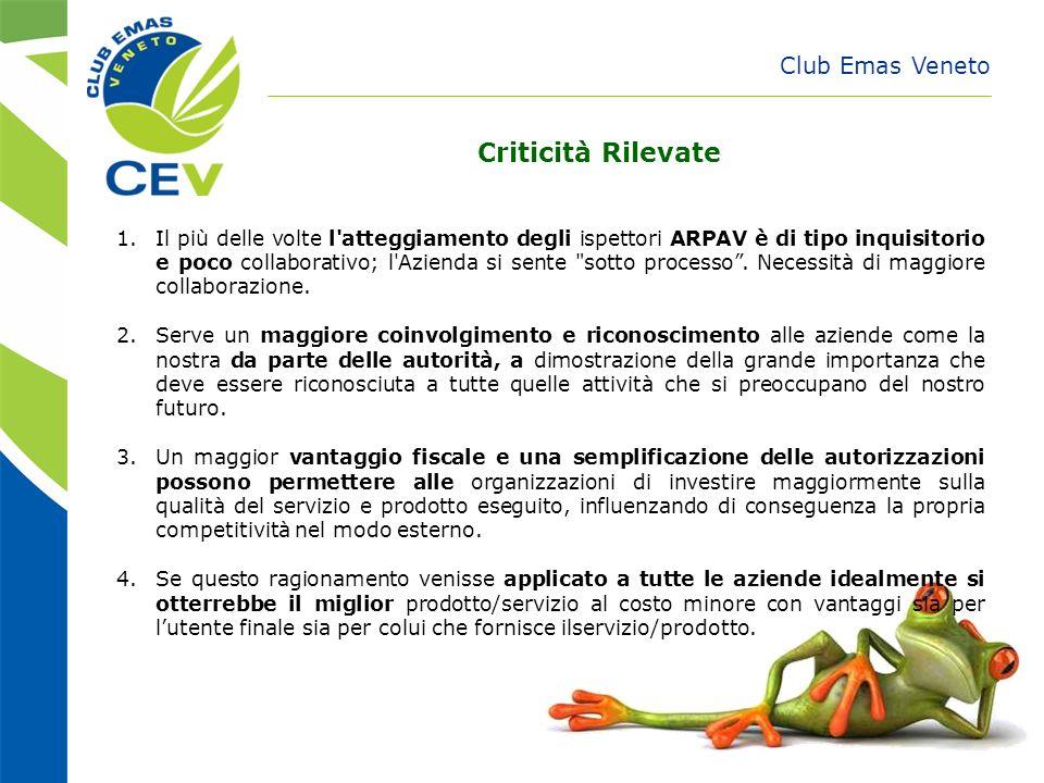 Club Emas Veneto Criticità Rilevate 1.Il più delle volte l'atteggiamento degli ispettori ARPAV è di tipo inquisitorio e poco collaborativo; l'Azienda