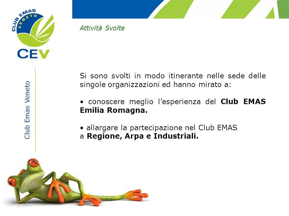 Club Emas Veneto Attività Svolte Si sono svolti in modo itinerante nelle sede delle singole organizzazioni ed hanno mirato a: conoscere meglio lesperi